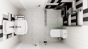 """Интериорен проект на баня """"Черно + бяло"""""""