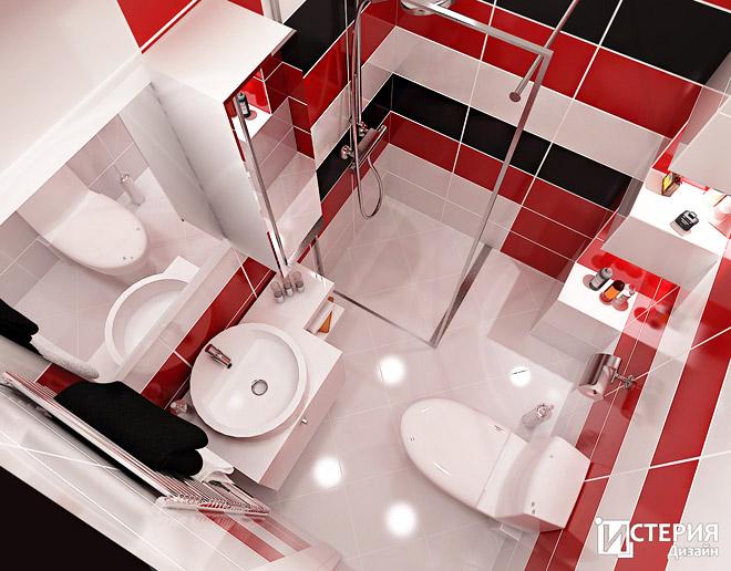 Интериорен проект на баня 2.60 кв.м