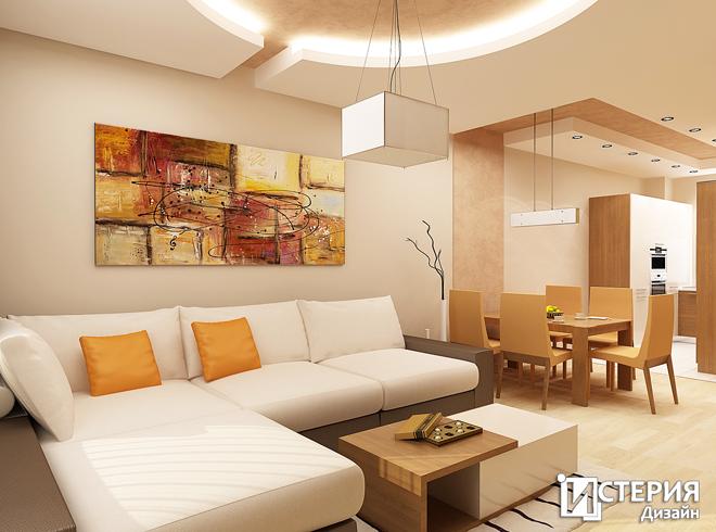 Интериорен дизайн на апартамент с площ 66.32 кв.м