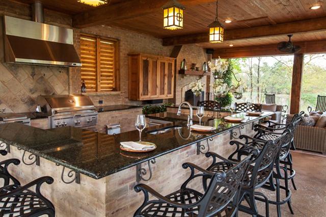 Кухня с голам бар-плот
