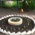 Гума в градинска леха