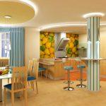 Проект на кухня и трапезария с окачен таван с овални форми и скрито осветление
