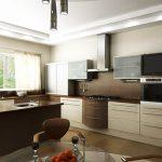 Проект на кухня с окачен таван и централно висящо осветително тяло
