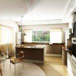 Проект на кухня с окачен таван със скрито осветление и окачени тела