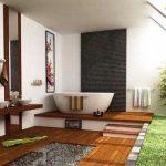 Семпли форми, неутрални цветове и естествени материали характеризират японската баня
