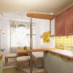 Бар-плот отделя къта за готвене от къта за отдих в малко жилище
