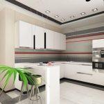 Бар-плот като продължение на кухненската конфигурация мебели