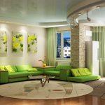 Изчистени линии, но мебелите са в ярко зелено за настроение