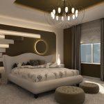 Ефектна декорация зад таблата на леглото с вградено осветление