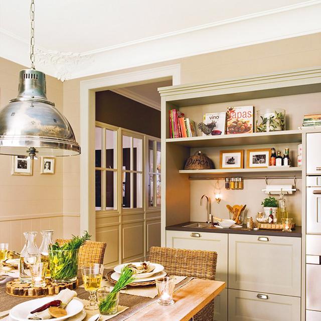 Кухнята е 30 кв.м, но изглежда още по-просторна заради светлите цветове