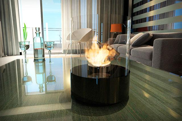Компактните модели на биетанолови камини се поставят по желание и на маса