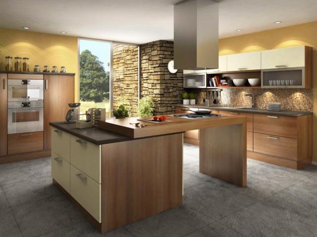 Кухня с вградено осветление и кухненски остров