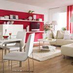 Стена в червено и бели мебели