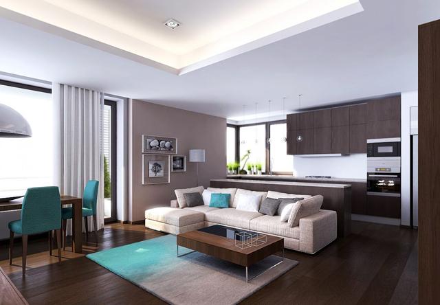 Тъмен под и бели мебели