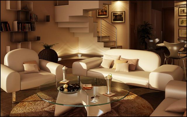 Интериор на дневна с бели мебели