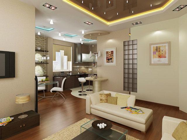 Бели мебели на фона на тъмен под и тъмен окачен таван