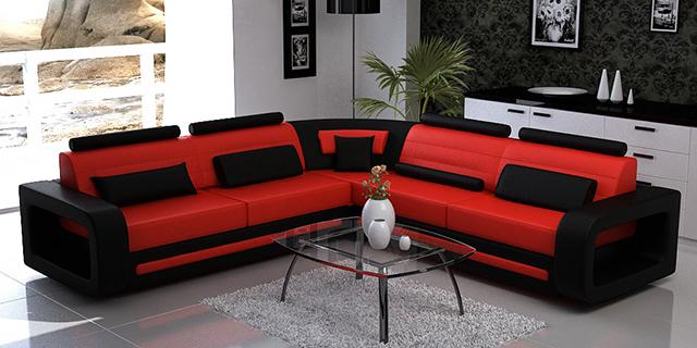 Диван в червено и черно