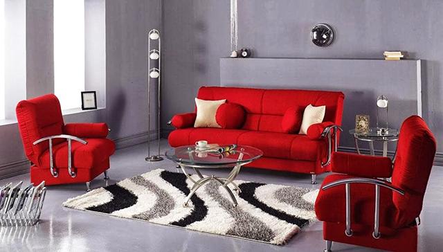Звездата на дневната – диван в червено