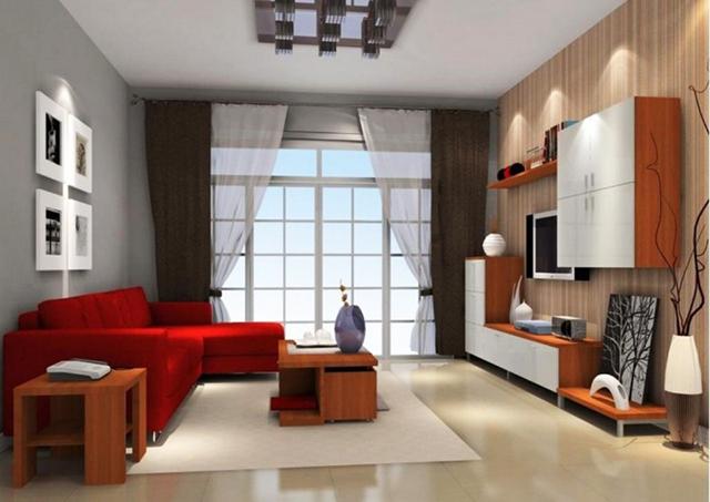 Дневна зона с червен диван