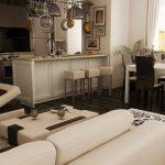 Кът за хранене между кухнята и меката мебел