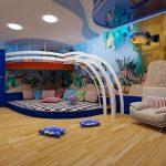 Стая с кът за игра под високото легло