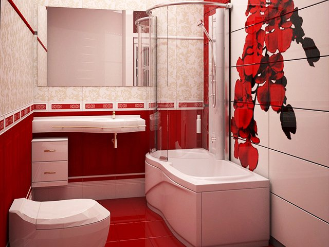 Червено и бяло в банята