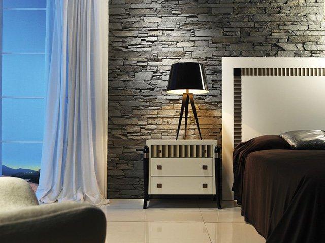 Декоративен камък в спалнята