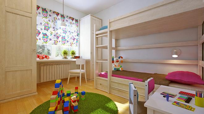Детска стая със зелени акценти
