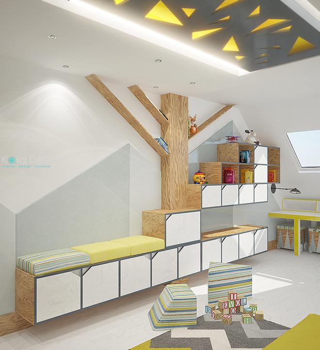 Детска стая с катерушка и етажерка-дърво