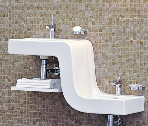 Двойна мивка със Z-образна форма от Vitra