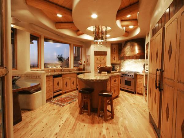 Дървото е основен атрактивен участник в интериора на тази кухня