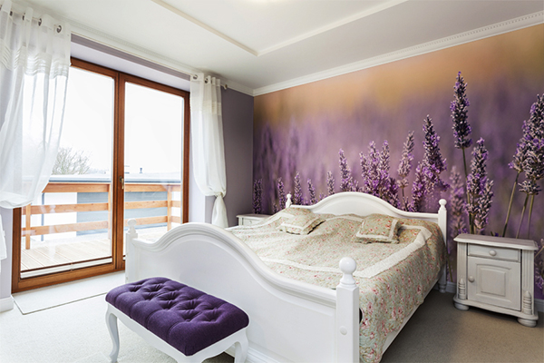 Tuscany - white and purple interior of bedroom